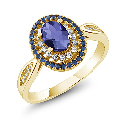 Gem Stone King 1.25 Ct Oval Checkerboard Blue Iolite 18K Yellow Gold Plated Silver Ring (Size 9)
