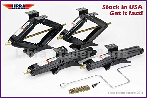"LIBRA Set of 4 5000lbs 20"" RV Trailer Stabilizer Leveling Scissor Jacks w/Handle & Power Drill Socket & Mounting Hardware 26036"