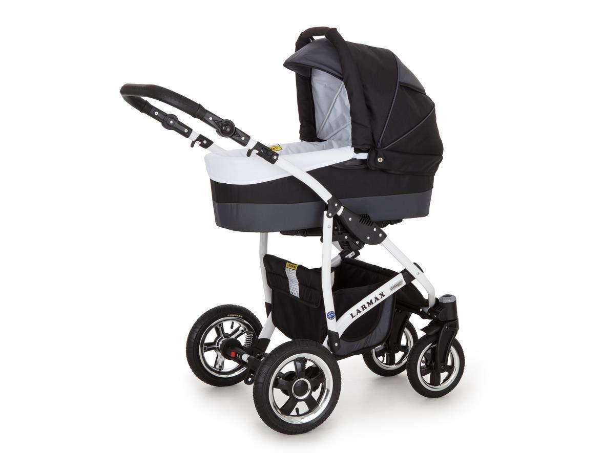 Lux4kids Kinderwagen 3in1 Buggy Babyschale Babywanne Autositz Alles in einem Larmax Schwarz /& Lila