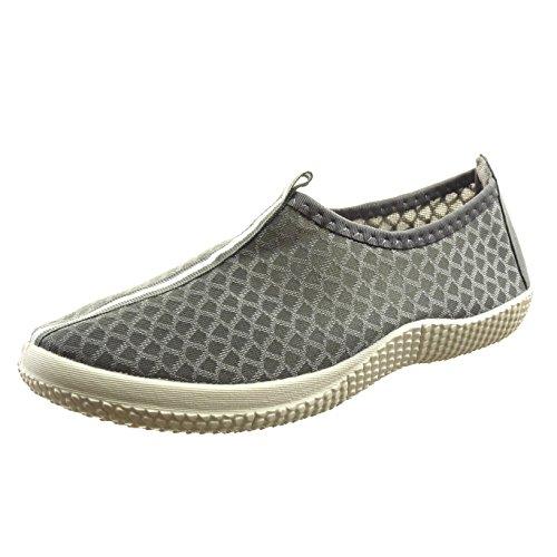 Sopily - Chaussure Mode Baskets Cheville femmes Lignes Talon bloc 2.5 CM - Gris