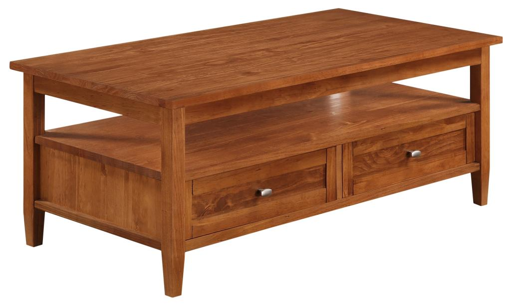 Simpli Home Warm Shaker Coffee Table Honey Brown Kitchen Dining