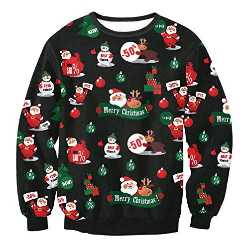 Natale Digitale Maniche Stampa E 3d A1542 Girocollo Di fby Serie A Tcly Lunghe Maglione Larga Unisex Camicia Autunno Inverno qHBt1