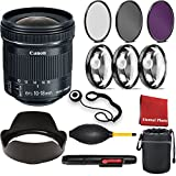 Canon EF-S 10-18mm f/4.5-5.6 IS STM Lens with 3 Piece Filter Kit, Blower, Lens Hood, Lens Pen, Cap Keeper, Case, Cleaning Cloth, 3 Piece Macro Closeup Kit