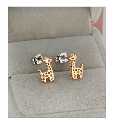 Gold Plated Stud Earrings for Girls Cute Giraffe Hollow Out Women Earrings Erz0159-GOLD (Qz Wedding Rings)