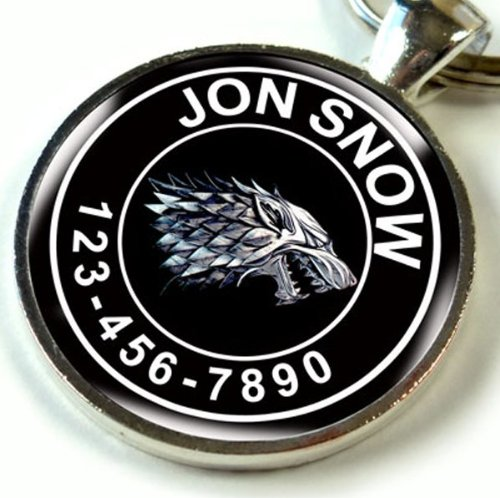 (Pet Tags Game of Thrones Black Stark Wolf Custom ID Dog tag cat tag (Small 1