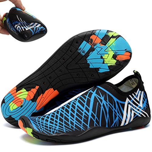 WALUCAN Wasser Schuhe Barfuß Quick-Dry Aqua Sport für Yoga Beach Driving Walking für Männer und Frauen X.blau