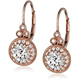 Rose-Gold-Plated Sterling Silver Swarovski Zirconia Round Antique Drop Earrings (3.5 cttw)