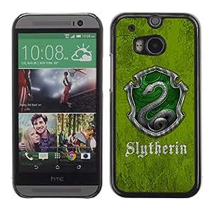 // PHONE CASE GIFT // Duro Estuche protector PC Cáscara Plástico Carcasa Funda Hard Protective Case for HTC One M8 / Slytherin Escudo /