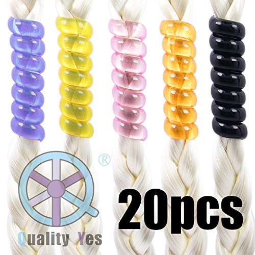QY 20PCS Bright Colors Beads Barrettes Spiral Coil Hairholders for Ladies