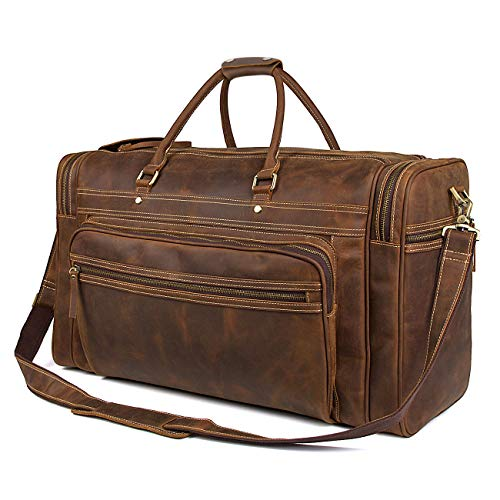 BAIGIO Retro Cowhide Leather Travel Duffel Carry On Weekender Holdall Overnight Luggage Bag (Brown)