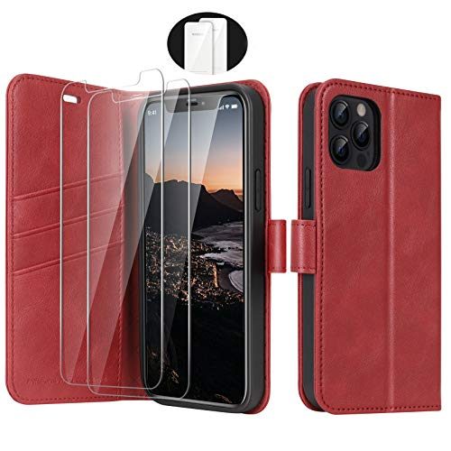 iPhone 12 5G 2020 Wallet Case for iPhone 12/iPhone 12 Pro Case Cover, [2 Glass Screen Protector], PU Leather Flip Folio Cover with Card Slot Magnetic, TPU Case Wallet for iPhone 12 (6.1 Inch), Red