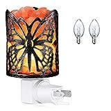 Himalayan Salt Lamp,Natural Wall Light Salt Lamp with 2 Bulbs,Rocks Salt Night Light with Butterfly Metal Basket for Gift