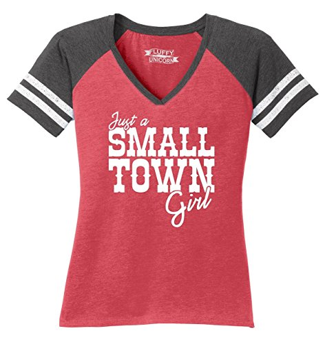 Comical Shirt Ladies Just A Small Town Girl Cute Country Tee Game V-Neck Tee