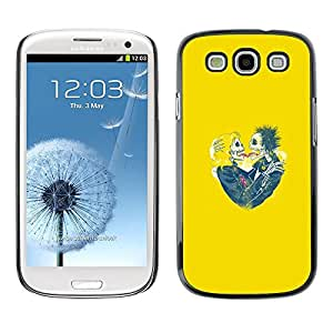 Ihec Tech / Amarillo corazones Pareja cráneo Esqueleto / Funda Case back Cover guard / for Samsung Galaxy S3