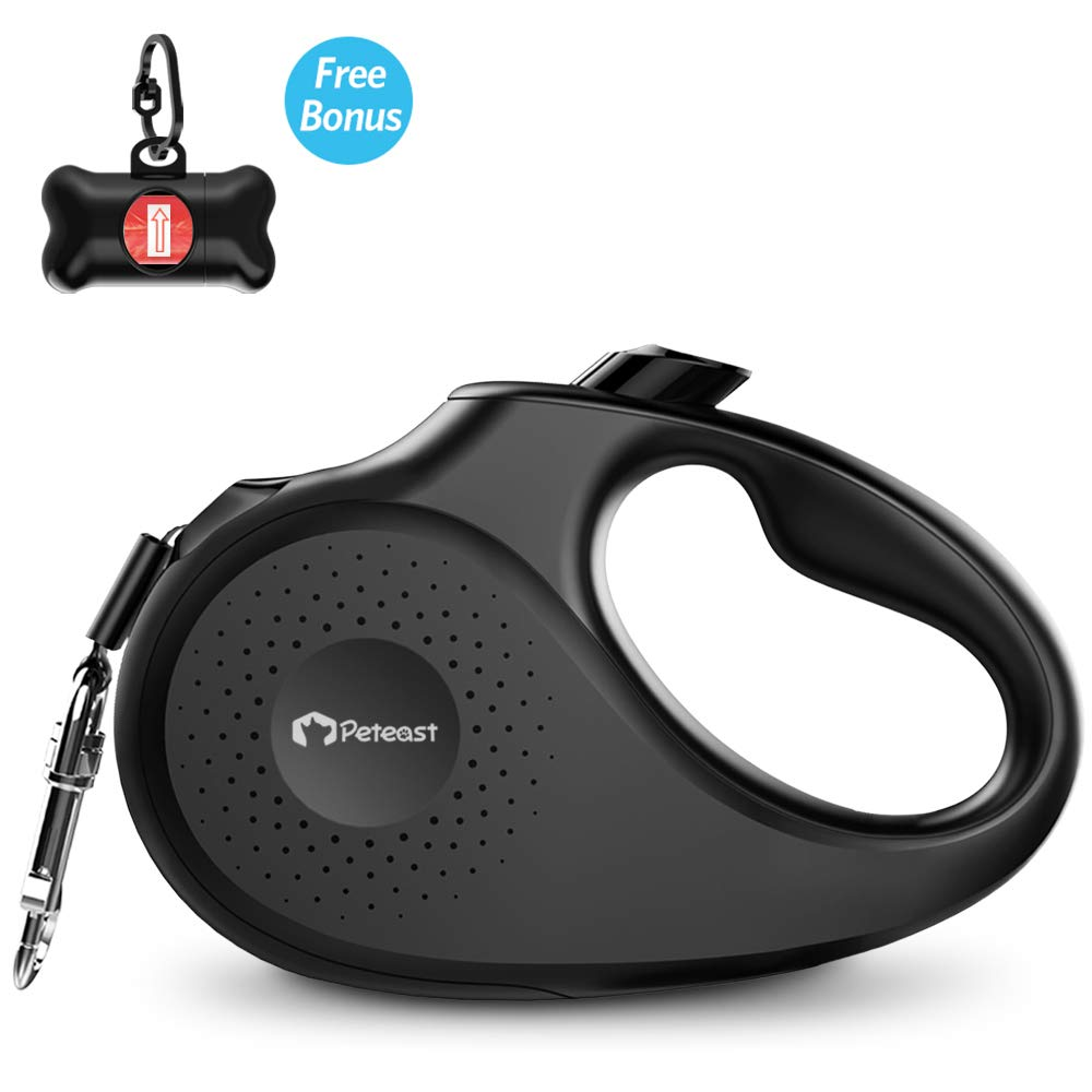 Peteast Retractable Dog Leash, 360° Tangle-Free, Heavy Duty Up to 110lbs Pets, 16ft Strong Reflective Nylon Tape with Waste Bag Dispenser, One-Handed Brake/Pause/Lock, L