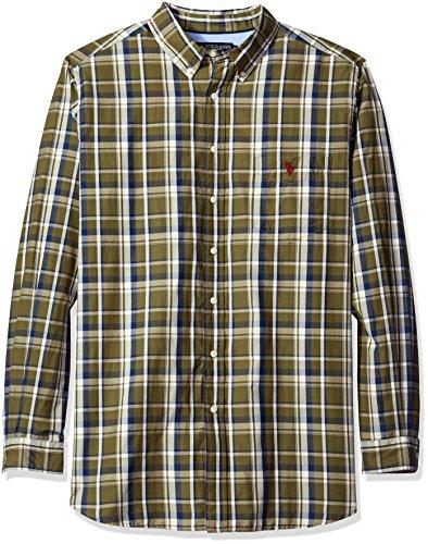U.S. Polo Assn. Mens Big and Tall Long Sleeve Large Plaid Poplin Woven Shirt
