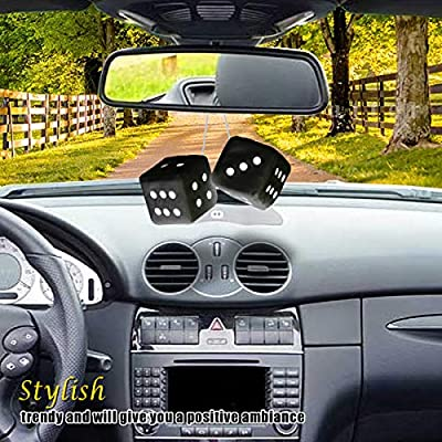 Vagway Fuzzy Dice Car Mirror- Pair of Black Hanging Dice- Plush Stylish Vintage Retro Accessory: Automotive