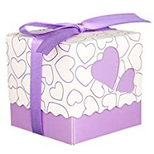 SODIAL(R) 30pcs Love Heart Small Laser Cut Gift Candy Boxes Wedding Party Favor Candy Bags With Ribbon Decor, Purple
