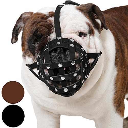 CollarDirect Basket Dog Muzzle for Boxer, English Bulldog, American Bulldog Secure Leather Muzzle (Black)]()