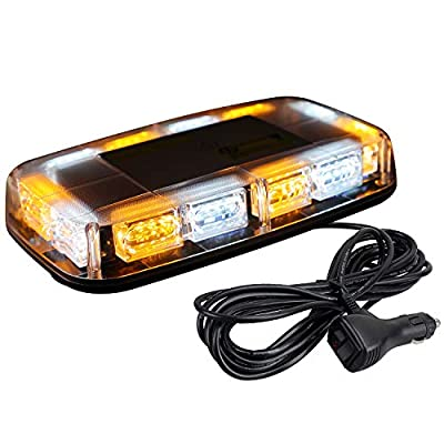 [Upgraded 5] ASPL 48LED Roof Top Strobe Lights, High Visibility Emergency Safety Warning LED Mini Strobe Light bar with Magnetic Base for 12-24V Snow Plow, Trucks, Construction Vehicles (Amber/White): Automotive