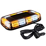 ASPL 48LED Roof Top Strobe Lights, High Visibility Emergency Safety Warning LED Mini Strobe Light bar with Magnetic Base for 12-24V Snow Plow, Trucks, Construction Vehicles (Amber/White)