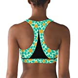 Lkegc Womens Tropical Pattern Orange Fashion Printed Sports Yoga Seamless Sports Bras