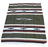 Del Mex Woven Mexican Southwest Diamond Blanket (Sage Green)