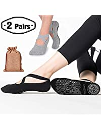 Yoga Grip Socks for Woman,Pilates Socks with Keeping-on Straps,SemiShare Non-Slip Barre Sticky Socks for Pilates, Pure Barre, Ballet, Dance(Black/Gray,2pack)