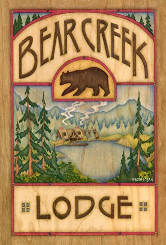 (Toland Home Garden Bear Creek Lodge 12.5 x 18 Inch Decorative Outdoors Lake Cabin Wildlife Animal Garden Flag)