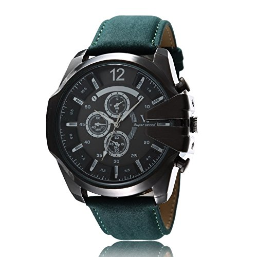 TODDCAHALAN Vintage Classic Men's Over-sized Crown Leather Strap Sport Quartz Army Watch Black Silver Green