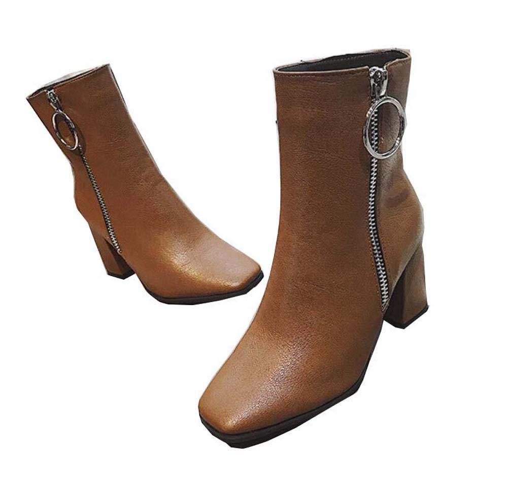 Frauen 8Cm Chunkly Ferse Knöchel Bootie Quadrat Zehen Reißverschluss Martin Stiefel Reine Farbe Lässige Hofschuhe EU-Größe 35-39