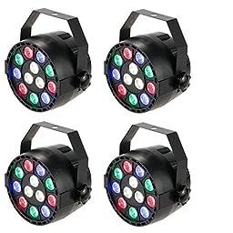 Lixada 4 Packs DMX-512 RGBW LED Stage PAR Light Strobe Professional 8 Channel Party Disco DJ Show 15W AC 100-240V