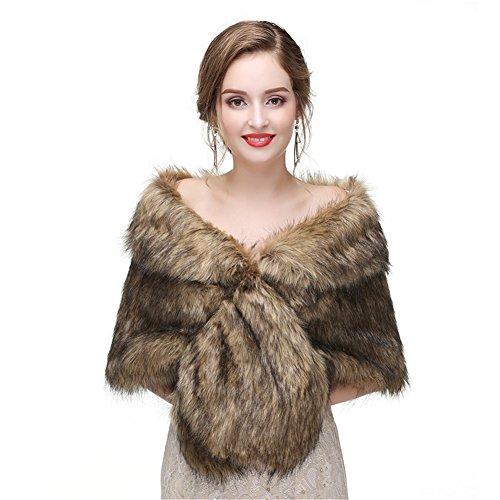 LiCheng Bridal Women Faux Fox Fur Wraps Shawls Stoles Cape Shrug for Wedding Evening Party Dresses Brown