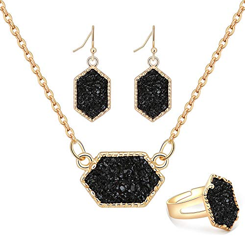 MissNity Black Faux Druzy Jewelry Set Drusy Necklace Dangle Earring Ring 18k Gold Plated Hexagon Pendant (A11-Gold/black)