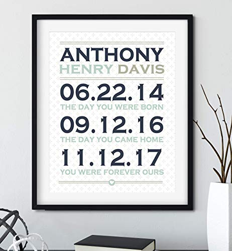 Personalized Adoption Gift for Adoptive Parents, Black Frame Available