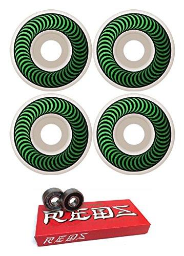 熱少なくとも意志52 mm Spitfire Wheels Classics Wheels with Bones Bearings – 8 mm Bones Super Redsスケート定格ベアリング – 2アイテムのバンドル