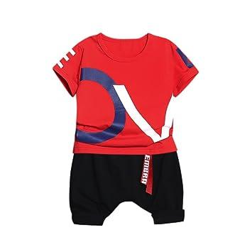 ab7befa42 PAOLIAN Moda Conjuntos Ropa para Niños Babe para Verano Manga Corta  Camisetas de Alfabeto y Harlan