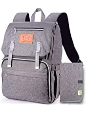 KeaBabies Diaper Bag Backpack For Mom And Dad - Large Travel Baby Bags - Multi-Functional Maternity Nappy Bag - Waterproof Durable Premium Oxford Fabric - Diaper Changing Mat Included (Classic Gray)