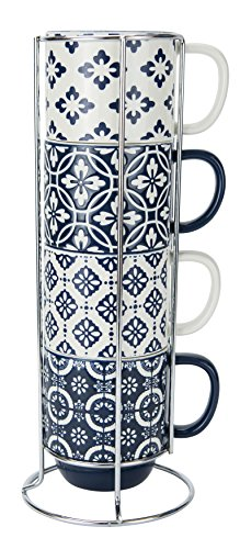 True Blue Stacked Mugs with Stand, 14 Ounce Capacity, Set of 4, By Boston Warehouse