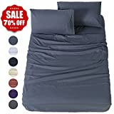 night stand 30 inches high - Shilucheng Bed Sheet Set Microfiber 1800 Threads Egyptian Super Soft Sheets 16-Inch Deep Pocket - Hypoallergenic - 4 Piece (Full, Dark Grey)