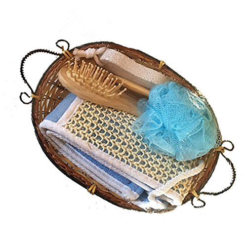 Ladies Spa bundle gift set - a sisal back scrubber, blue bath sponge, small wooden hairbrush, pumice stone and wooden roller massage tool, as well as an organic soap, gift bag and teddy bear by Greenbrier International (Image #3)