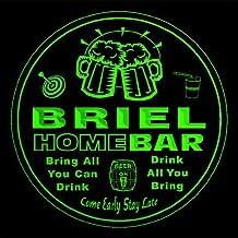 4x ccq05412-g BRIEL Family Name Home Bar Pub Beer Club Gift 3D Engraved Coasters