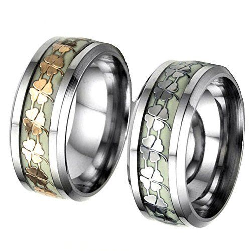 JAJAFOOK Mens Luminous Effect Lucky Clover Titanium Steel Ring Band Glow in the Dark, 8mm ()