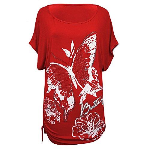 Vanilla Inc - Camisas - para mujer Red butterfly Print