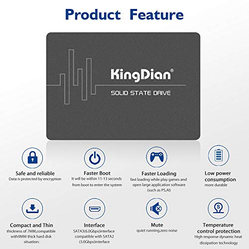 KingDian 60GB 120GB 240GB 480GB 1TB 2TB SATA3 SSD Hard Dive for PC and Laptop (S280 1TB)