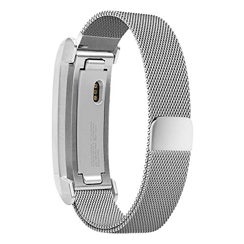 Fitbit Alta HR Band, iSTYLE Magnetic Closure Clasp Mesh Loop Milanese [with Metal Frame] Stainless-Steel Replacement Accessory Bracelet Strap (Silver)