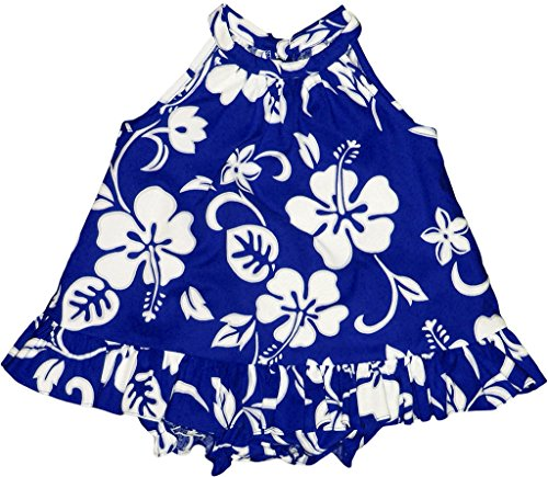 - RJC Baby Girl's Hibiscus Pareo Halter Hawaiian 2 Piece Dress Set Royal Blue 6-months