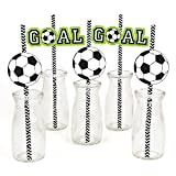 Big Dot of Happiness GOAAAL! - Soccer Paper Straw Decor - Baby Shower or Birthday Party Striped Decorative Straws - Set of 24