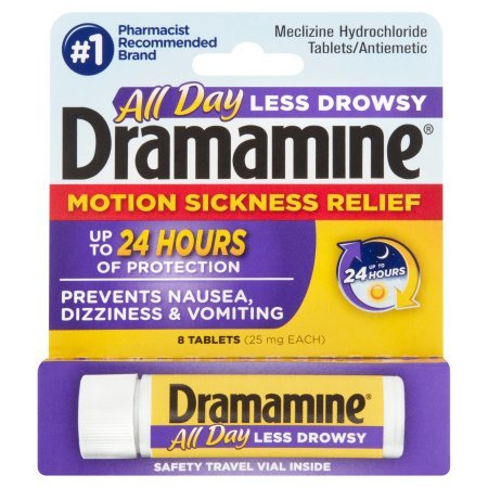 Pack of 10 - Dramamine Less Drowsy Formula Motion Sickness Relief Tablets - 8 CT by Dramamine