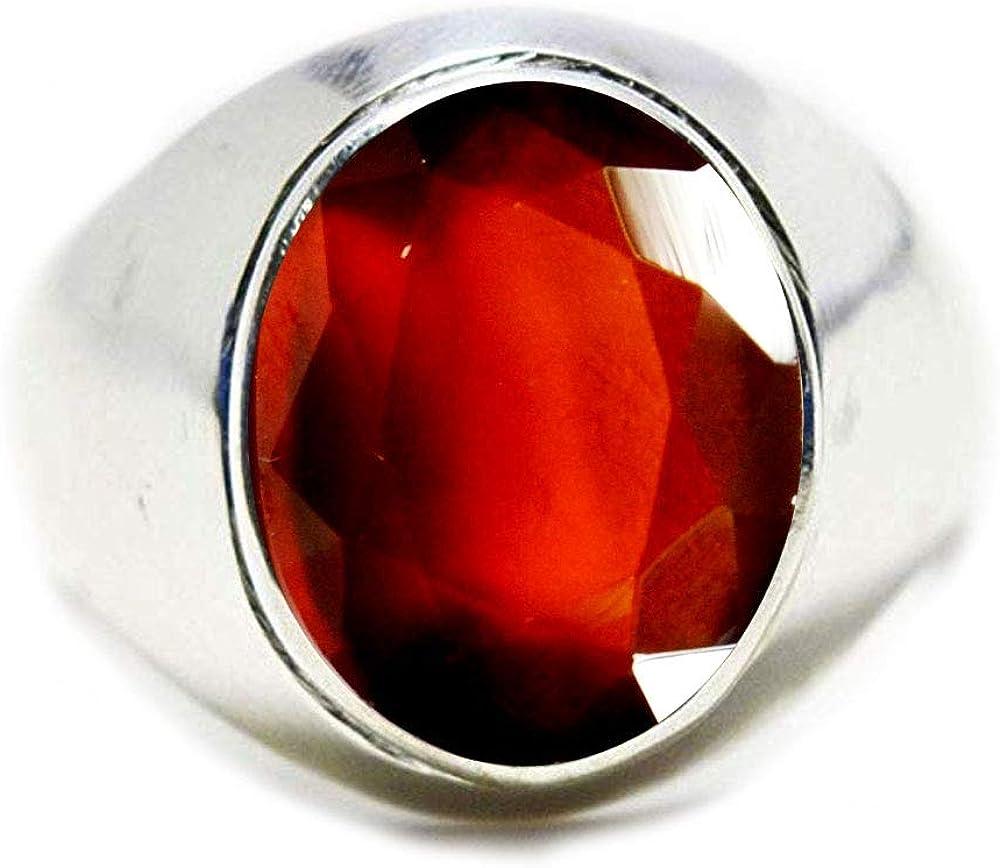 Jewelryonclick Bague en Argent Massif pour Homme avec Grenat en h/ésonite Naturelle 4 carats